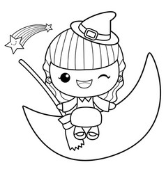 black and white witch mascot is sitting on the vector image