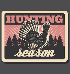 Blackcock retro poster for hunting season vector