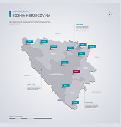 bosnia and herzegovina map with infographic vector image