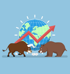 Bull and bear with world and graph in background vector