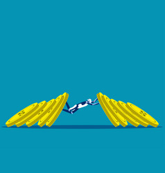 business team blocking currency domino effect vector image