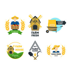 Cartoon farm labels set vector