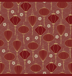 Chinese traditional lanterns seamless pattern on vector