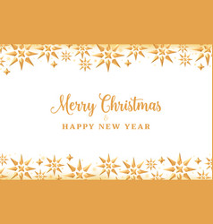 christmas background with gold crystal stars vector image