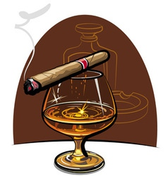cognac and cigar vector image