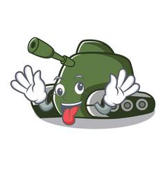 Crazy tank mascot cartoon style vector