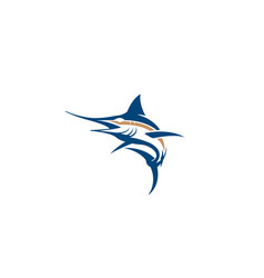 creative flying blue swan logo vector image