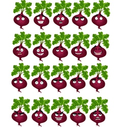 Cute cartoon beetroot smile with many expressions vector