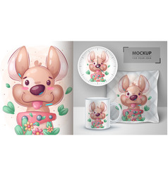 Cute dog in flower - poster and merchandising vector
