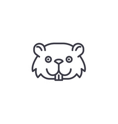 cute mouse head line icon sig vector image