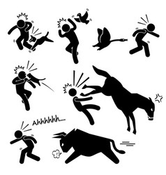 domestic animal attacking hurting human stick vector image