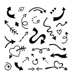 doodle arrows set sketch arrows hand drawn curve vector image