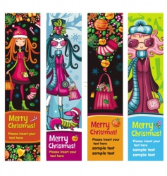Fashion Christmas girls banners vector