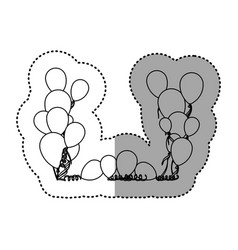 Figure colored party balloon with serpentine icon vector