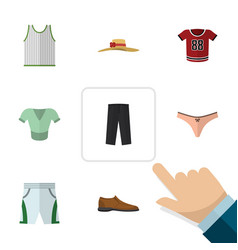 flat clothes set of male footware casual pants vector image