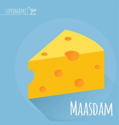 flat design maasdam cheese icon vector image