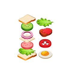 Flat icon of tasty sandwich with flying vector
