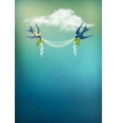 Flying bird swallow card vector