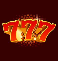 golden slot machine 777 wins jackpot big win vector image