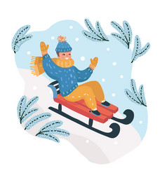 happy boy sledding down the hill on the snow vector image
