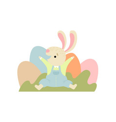 happy cute bunny with colorful eggs happy easter vector image
