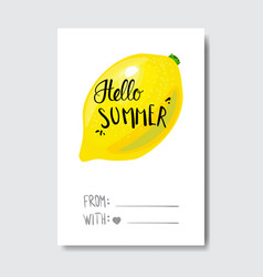 hello summer badge isolated typographic design vector image