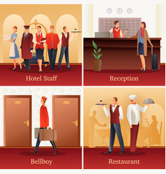 Hotel people flat compositions vector