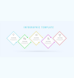 infographic rectangle thin line template 5 vector image