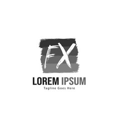 Initial fx logo template with modern frame vector
