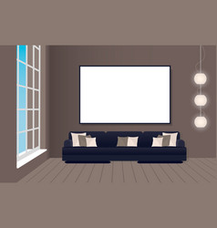 Interior mockup in loft style with sofa and empty vector