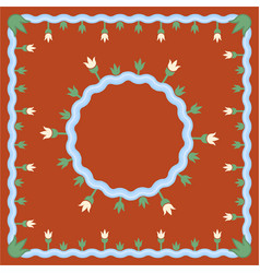 lake pattern on brown background with round vector image