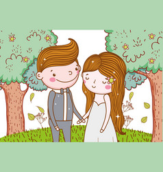 man and woman with trees flowers and leaves vector image