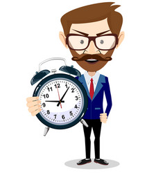 Man with an alarm clock time management vector