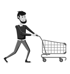 Man with empty shopping cart icon vector image