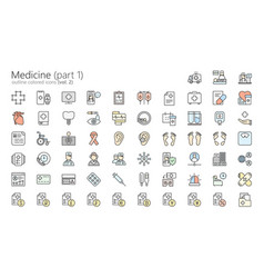 medicine colored outline iconset part 1 vector image