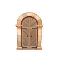 Medieval gate door entry oak stone doorway vector