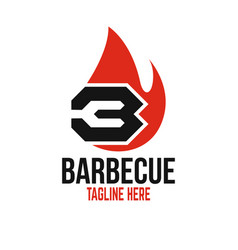 Modern barbecue and letter b logo vector