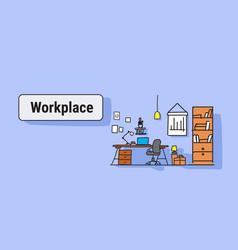 modern office interior design workplace desk vector image