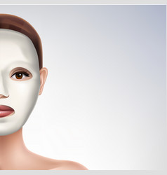 Moisturizing face mask on womans face vector