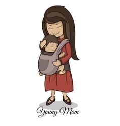Mom carrying a child using a handy device baby vector