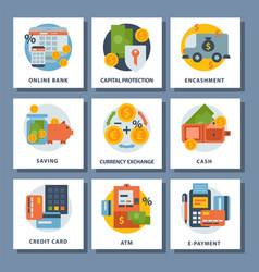 Money finanse icons banking safety business vector
