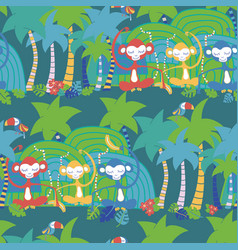 monkey toucan jungle tropical seamless pattern vector image