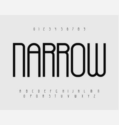 Narrow bold font with thin tall letters vector