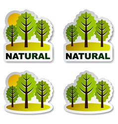 Natural tree forest stickers vector
