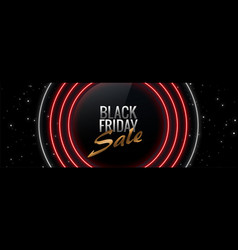 neon style black friday glowing banner design vector image