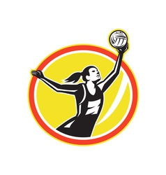 Netball Player Catching Ball Retro vector