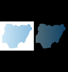 Nigeria map hex tile abstraction vector