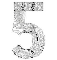 number five zentangle decorative object vector image