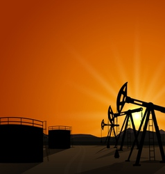 Oil pump jack for petroleum and reserve tanks vector