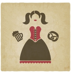 Oktoberfest girl with beer mug and pretzel vector image vector image